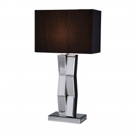 MIRROR FINISH TABLE LAMP ON BLACK WOOD BLACK RECT SHADE