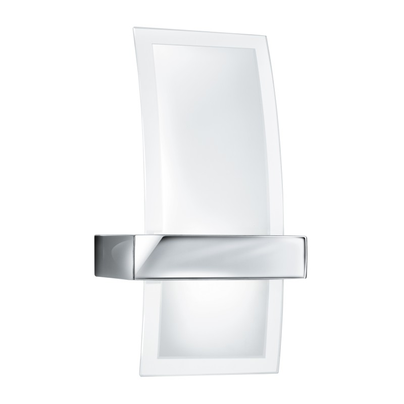 WALL BRACKET LED CURVED CLEAR/FROSTED GLASS CHROME