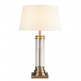 PEDESTAL TABLE LAMP - GLASS COLUMN & ANTIQUE BRASS BASE CREAM SHADE