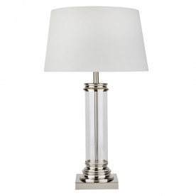 PEDESTAL TABLE LAMP - GLASS COLUMN & SATIN SILVER BASE CREAM SHADE