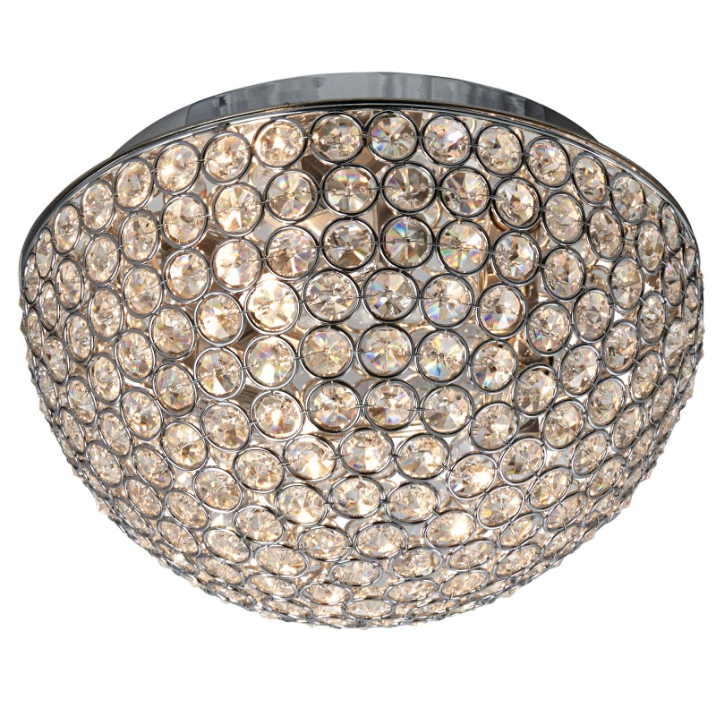 CHANTILLY - 3LT DOME CEILING FLUSH CHROME WITH CLEAR CRYSTAL BUTTONS INSERTS - DIA 25CM