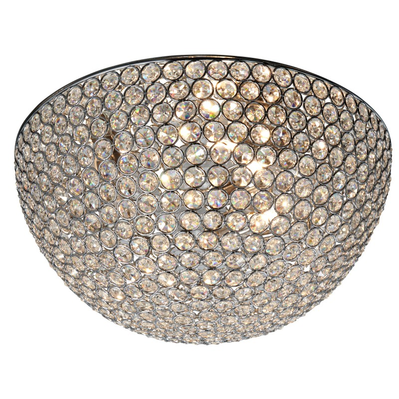 CHANTILLY - 3LT DOME CEILING FLUSH CHROME WITH CLEAR CRYSTAL BUTTONS INSERTS - DIA 35CM