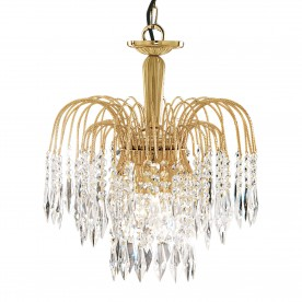 WATERFALL - 3LT CEILING GOLD CLEAR CRYSTAL