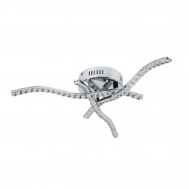 ANSON 3 ARM LED CEILING FLUSH CHROME CLEAR CRYSTAL TRIM