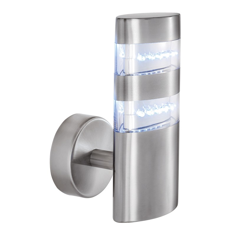 INDIA LED OUTDOOR WALL LIGHT - SATIN SILVER  OVAL 24 LEDS