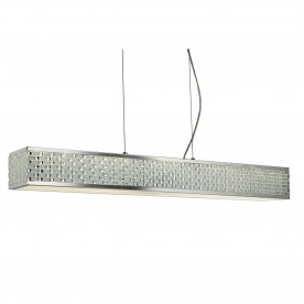 BALTIMORE LED 10LT CEILING RECTANGLE PENDANT CHROME TILE EFFECT TRIM