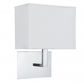 WALL LIGHT CHROME - WHITE RECTANGULAR SHADE