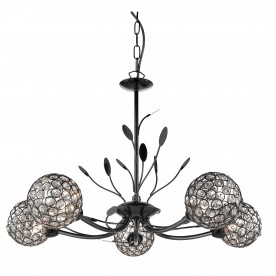 BELLIS II - 5LT CEILING BLACK CHROME CLEAR GLASS DECO SHADE