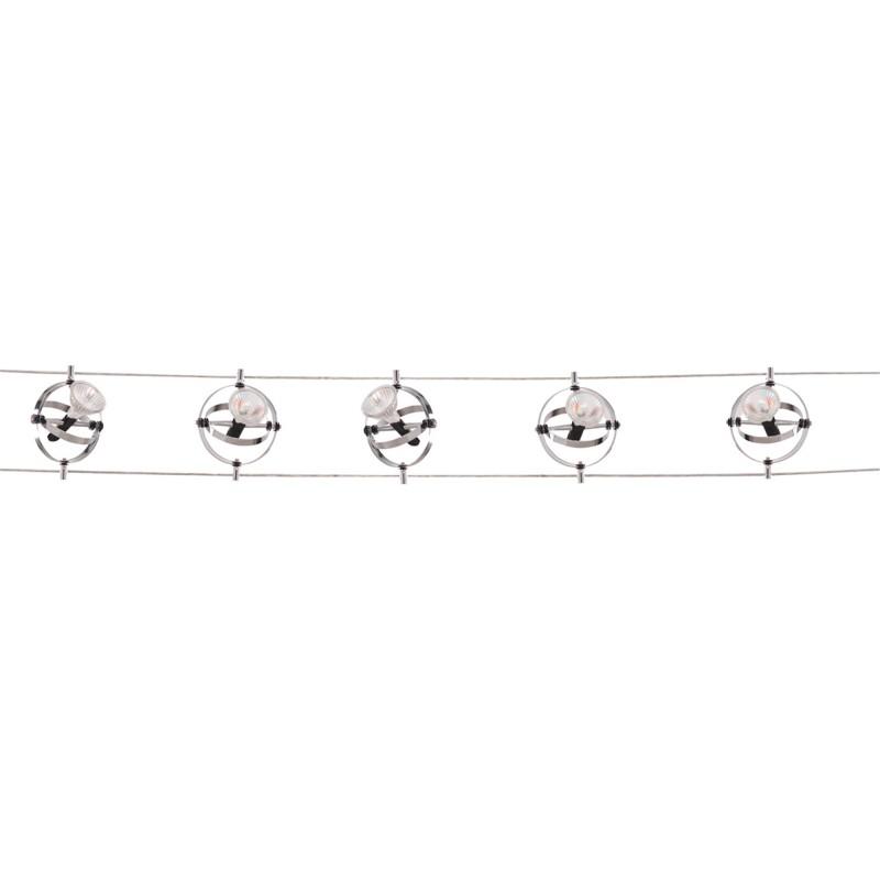 TRACK & SPOT 5LT LED CABLE KIT ADJUSTABLE GYROSCOPE HEADS CHROME