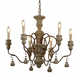 IDA 6LT PENDANT RUSTIC BROWN WEATHERED WOOD