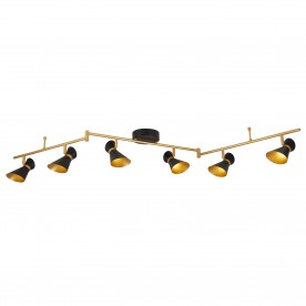 DIABLO 6LT LED SPOTLIGHT SPLIT-BAR MATT BLACK AND GOLD