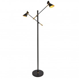 SPOTLIGHT - DIABLO 2LT LED FLOOR LAMP MATT BLACK CHROME & WHITE