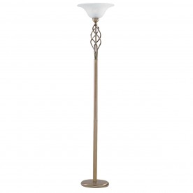 UPLIGHTER FLOOR LAMP  - ANT/BRASS CW MARBLE GLASS
