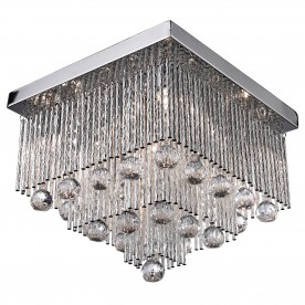 BEATRIX - 5LT SQUARE CEILING FLUSH CHROME WITH TWIST TUBES AND CLEAR CRYSTAL BALL DROPS