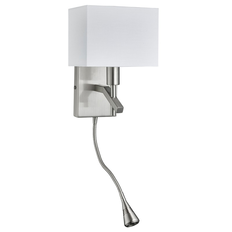 WALL - 2LT W/BRACKET LED FLEXI ARM SATIN SILVER WHITE SHADE