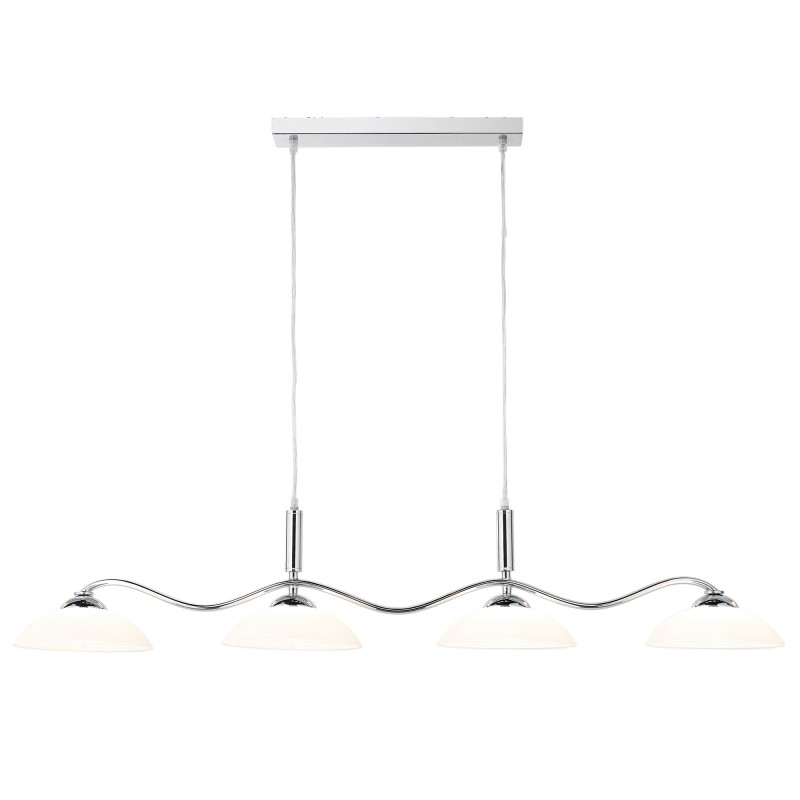 BAR LIGHTS  - PENDANT 4LT CHROME BAR/FROSTED GLASS SHADES