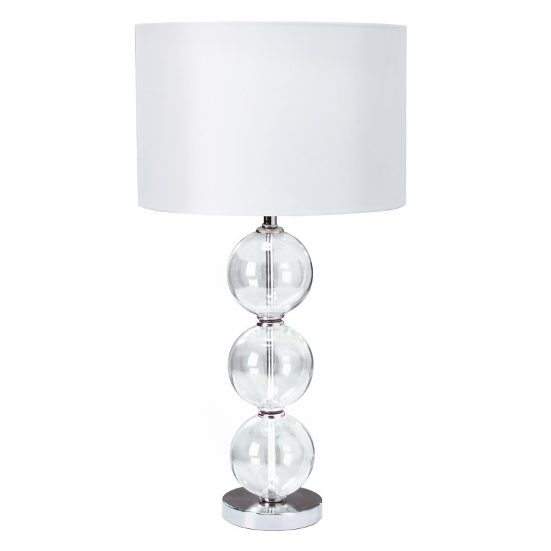 TABLE LAMP (SINGLE) - CLEAR GLASS BALL STACKED BASE WHITE SHADE