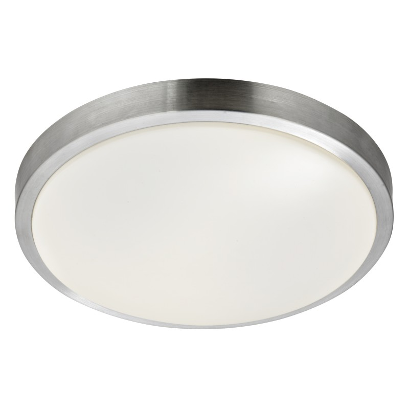 BATHROOM  LED - IP44 1LT FLUSH ALUMINIUM TRIM WITH ACRYLIC WHITE SHADE DIA 33CM