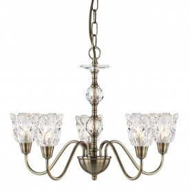 MONARCH - 5LT CEILING ANTIQUE BRASS CLEAR GLASS