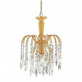 WATERFALL - 1LT PENDANT GOLD CLEAR CRYSTAL