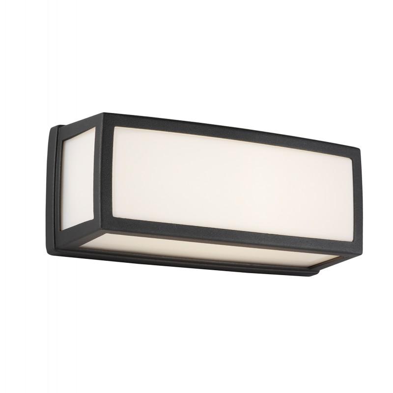WASHINGTON OUTDOOR SMALL LED RECTANGLE DARK GREY OPAL WHITE DIFFUSER WB/FLUSH