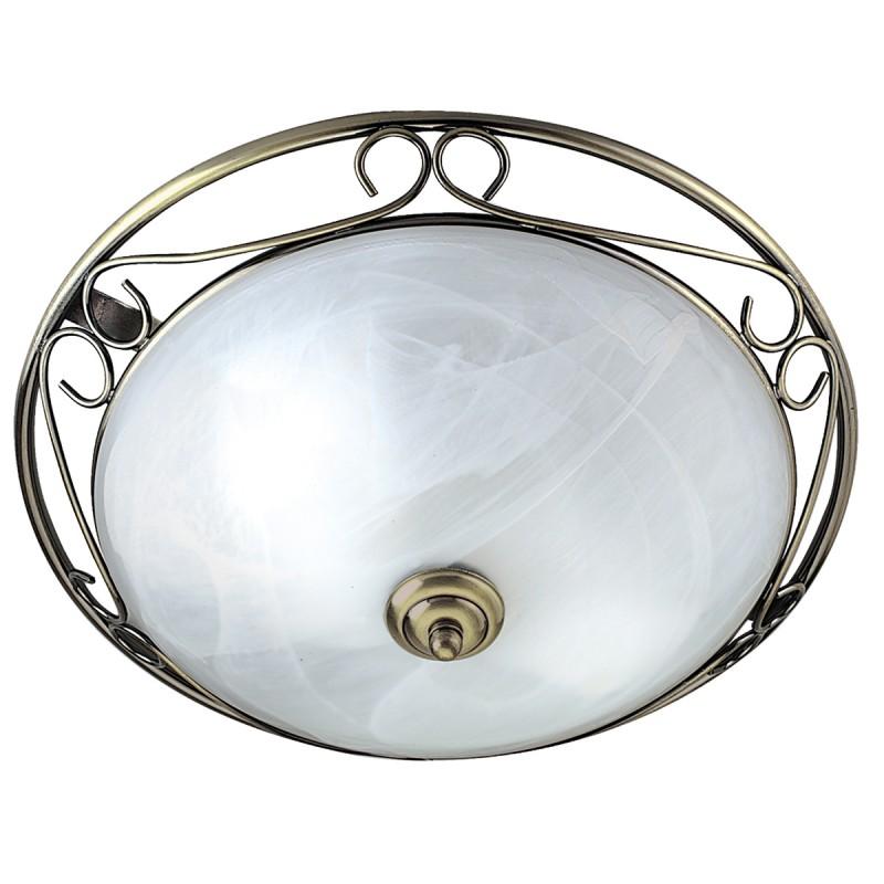 FLUSH 37cm AB/MARBLE GLASS C/FTG