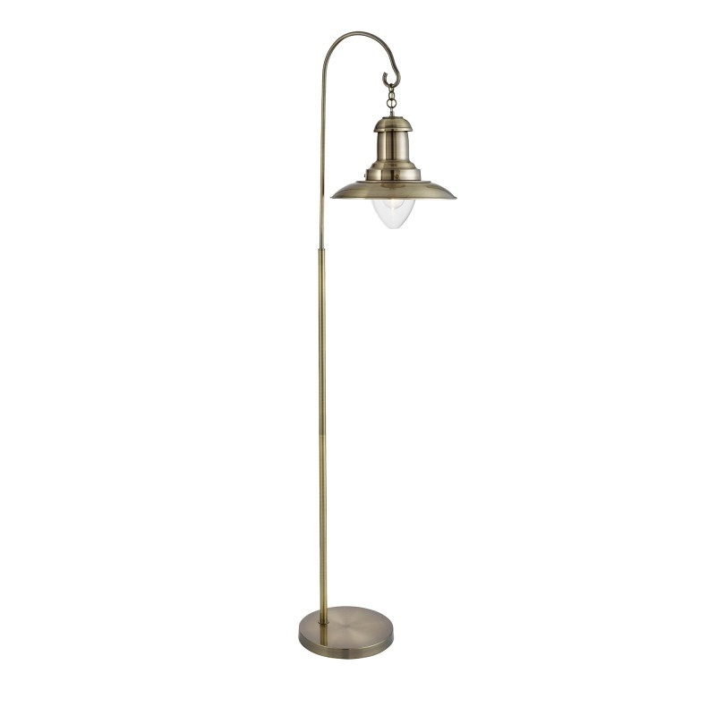 FISHERMAN FLOOR LAMP ANTIQUE BRASS CLEAR GLASS SHADE