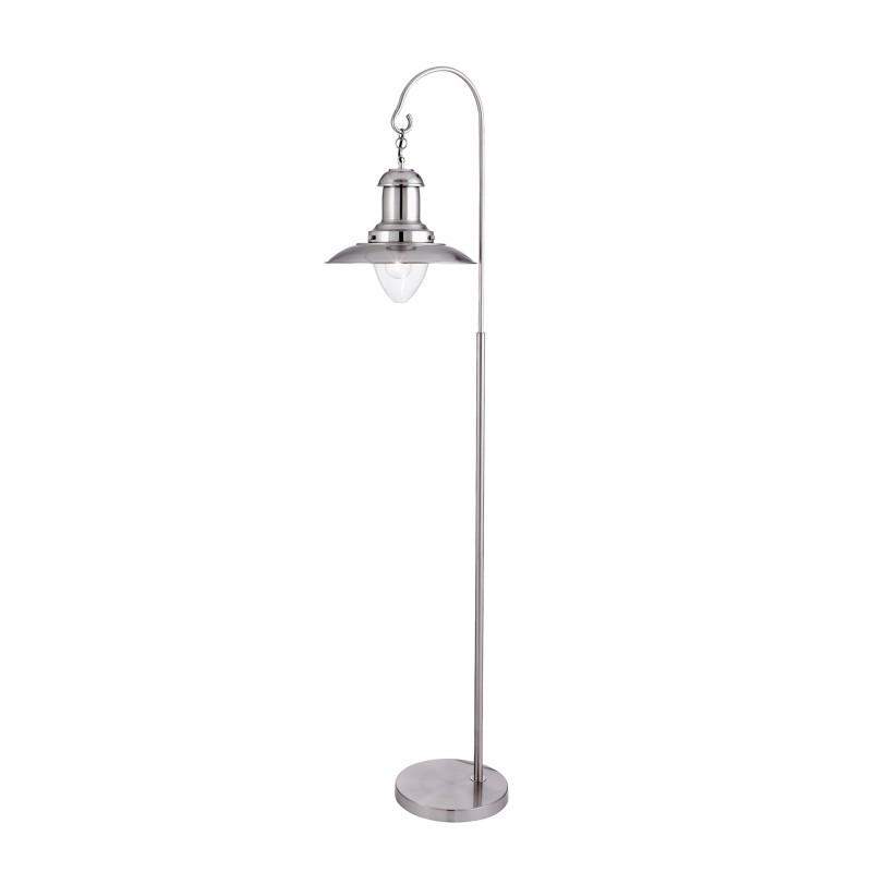 FISHERMAN FLOOR LAMP SATIN SILVER CLEAR GLASS SHADE
