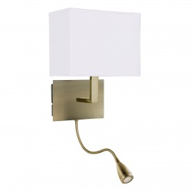 WALL LIGHT ADJUSTABLE  - 2LT W/BRACKET LED FLEXI ARM ANTIQUE BRASS WHITE SHADE