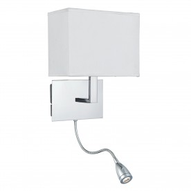 WALL LIGHT ADJUSTABLE - 2LT W/BRACKET LED FLEXI ARM CHROME WHITE SHADE