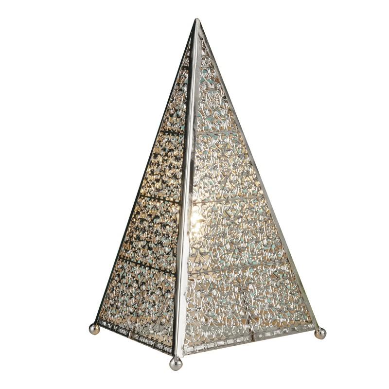 MOROCCAN FRETWORK TABLE LAMP SHINY NICKEL