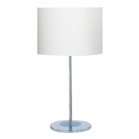 DRUM TABLE LAMP (SINGLE) - CHROME BASE IVORY DRUM SHADE