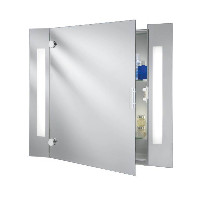 MIRROR - BATHROOM LIGHT - ILLUMINATED MIRROR GLASS CABINET - 2LT SHAVER SOCKET