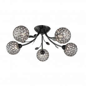 BELLIS II - 5LT CEILING SEMI-FLUSH BLACK CHROME CLEAR GLASS DECO SHADE