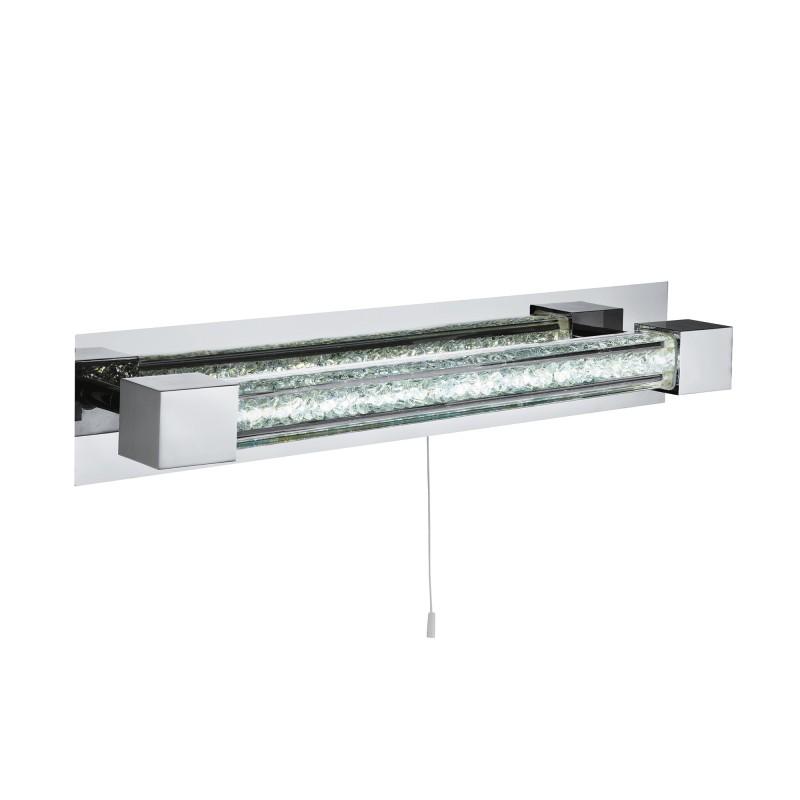 BATHROOM LED  IP44 WALL BRACKET CHROME CLEAR CRYSTAL & GLASS BAR