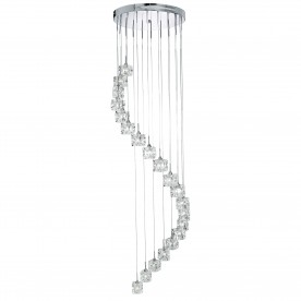 SCULPTURED ICE LED  - 20LT MULTI-DROP (HEIGHT 180cm) CLEAR GLASS CHROME