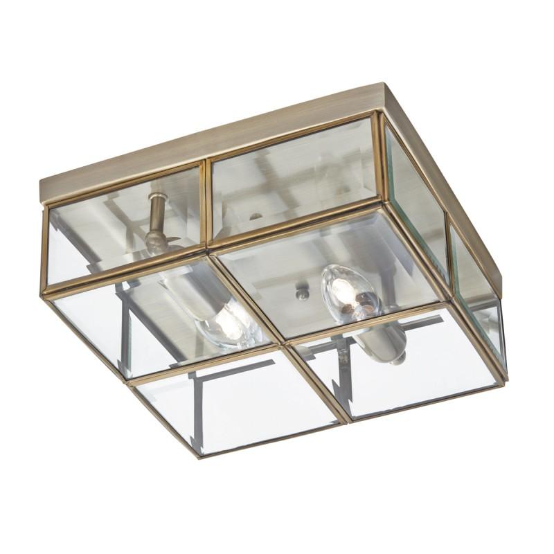 FLUSH - 2LT FLUSH BOX ANTIQUE BRASS WITH CLEAR BEVELLED GLASS PANELS