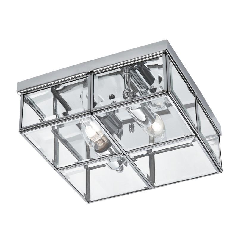 FLUSH - 2LT FLUSH BOX CHROME WITH CLEAR BEVELLED GLASS PANELS