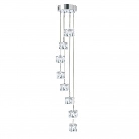 ICE CUBE LED - 8LT MULTI-DROP CLEAR GLASS SHADES CHROME