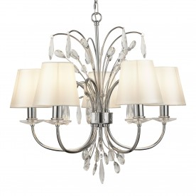BLOOM 5LT PENDANT CHROME WHITE SHADES