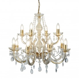 MARIE THERESE - 12LT CHANDELIER POLISHED BRASS CLEAR CRYSTAL GLASS