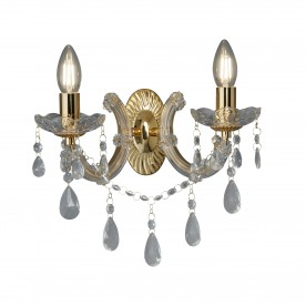 MARIE THERESE - 2LT WALL BRACKET POLISHED BRASS CLEAR CRYSTAL GLASS