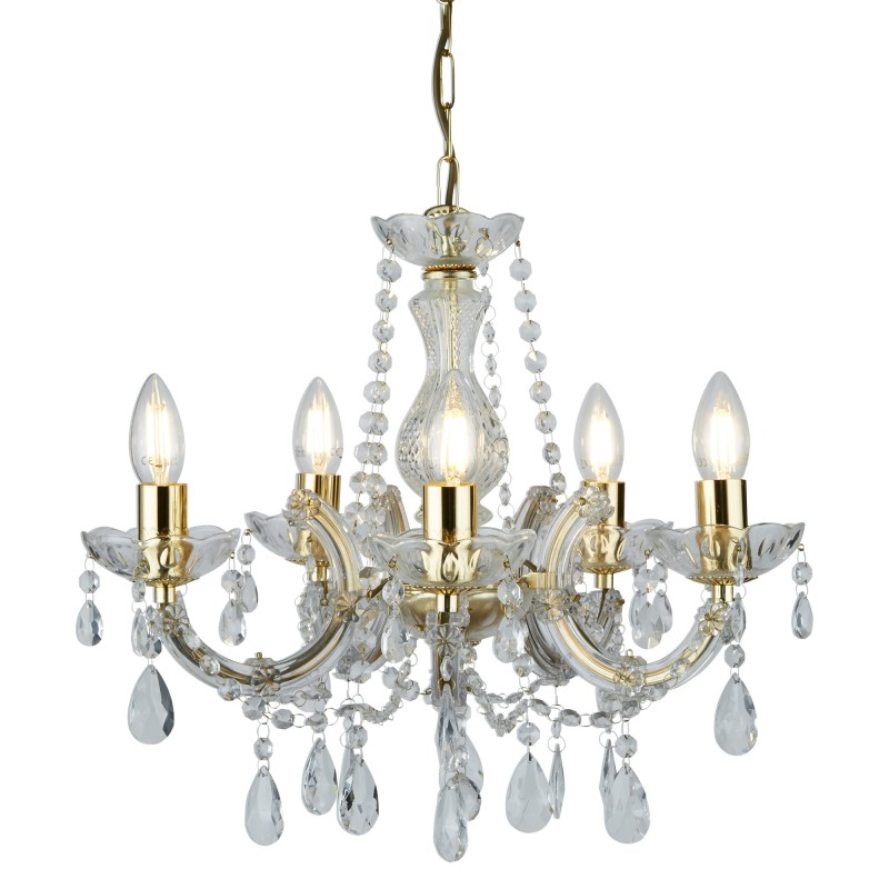 MARIE THERESE - 5LT CEILING POLISHED BRASS CLEAR CRYSTAL GLASS