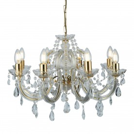 MARIE THERESE - 8LT CEILING POLISHED BRASS CLEAR CRYSTAL GLASS