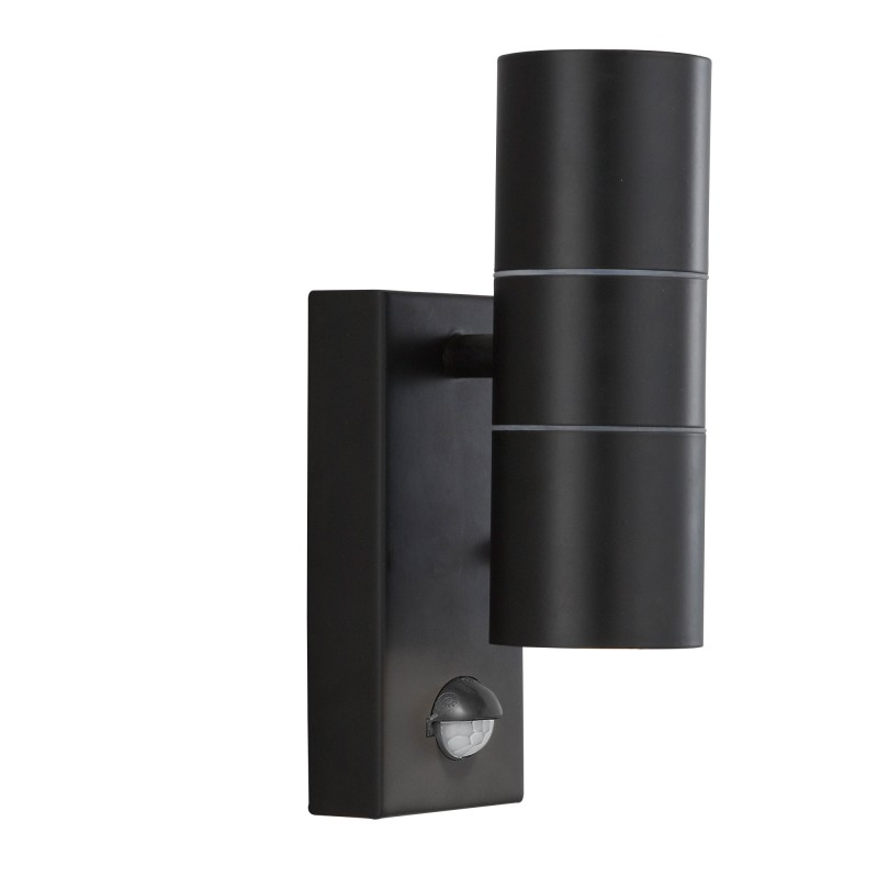 LED OUTDOOR & PORCH (GU10 LED)WALL LT - 2LT BLACK+SENSOR TUBE