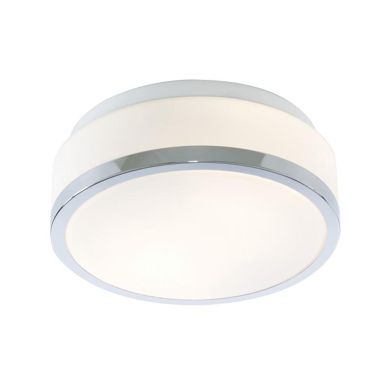 DISCS - BATHROOM - IP44 2LT FLUSH OPAL WHITE GLASS SHADE WITH CHROME TRIM DIA 23CM