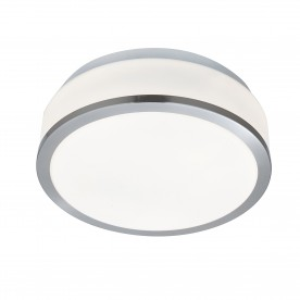 DISCS - BATHROOM - IP44 2LT FLUSH OPAL WHITE GLASS SHADE SATIN SILVER TRIM DIA 23CM