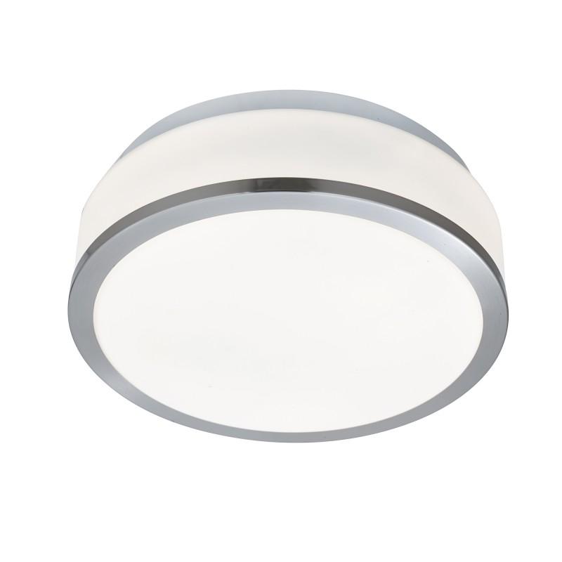 DISCS - BATHROOM - IP44 2LT FLUSH OPAL WHITE GLASS SHADE SATIN SILVER TRIM DIA 23CM