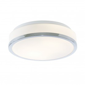 DISCS - BATHROOM - IP44 2LT FLUSH OPAL WHITE GLASS SHADE WITH CHROME TRIM DIA 28CM