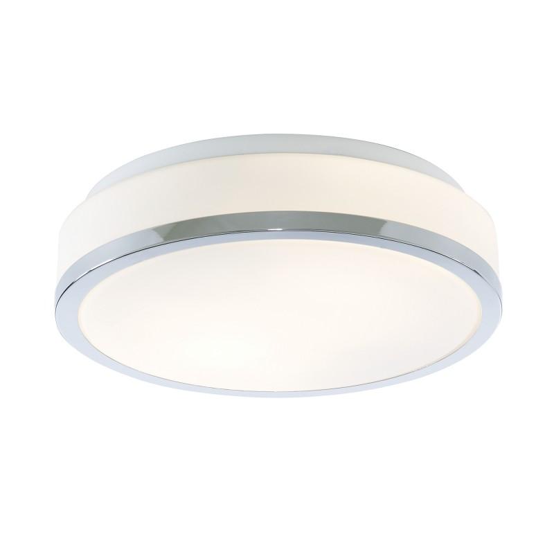 DISCS - BATHROOM - IP44 2LT FLUSH OPAL WHITE GLASS SHADE WITH CHROME TRIM DIA 28CM